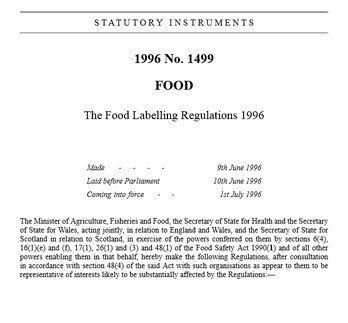 مقررات برچسب گذاری غذایی
